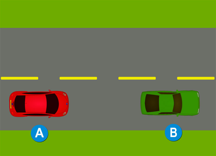 DMV questions about pavement markings - A yellow broken line - freedmvtest.info