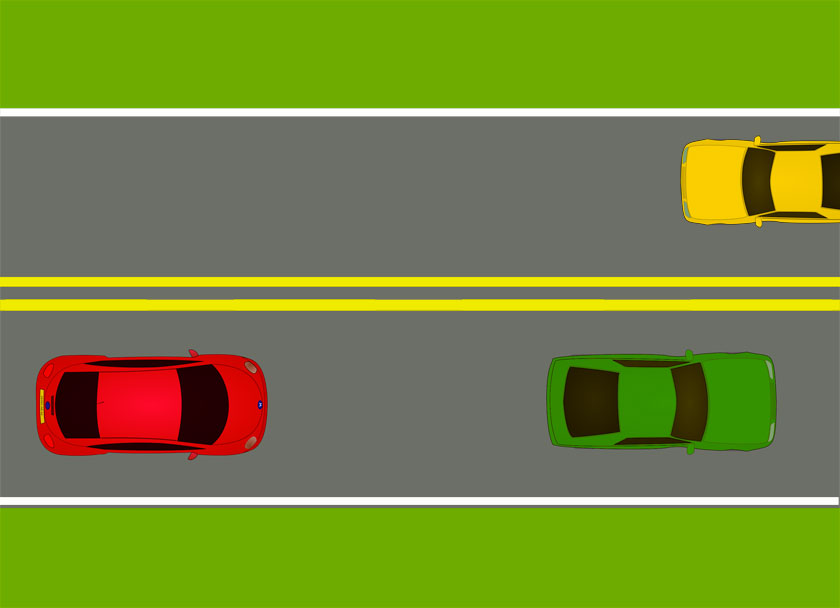 Pavement markings - A double yellow line