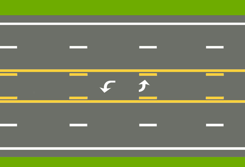 A center lane with a normal broken yellow line and a normal solid yellow line on each side