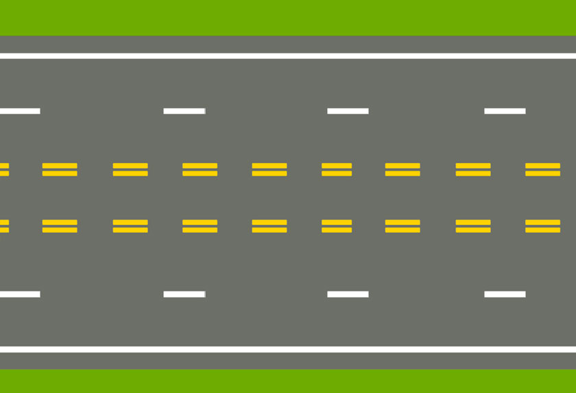 Lanes marked on both sides by double-broken yellow lines
