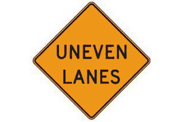 Free DMV Test - Uneven Lanes sign