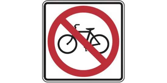 Road sign - white square with bicycle